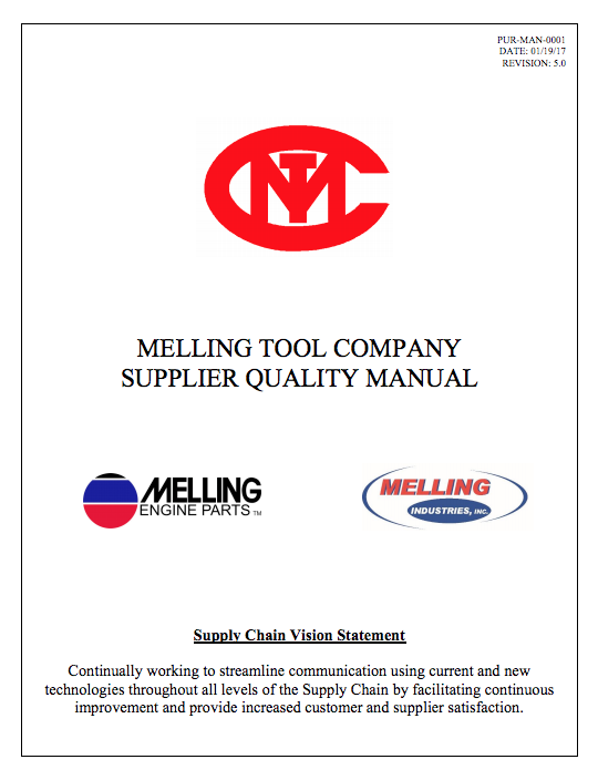 Melling Tool Company Supplier Manual.