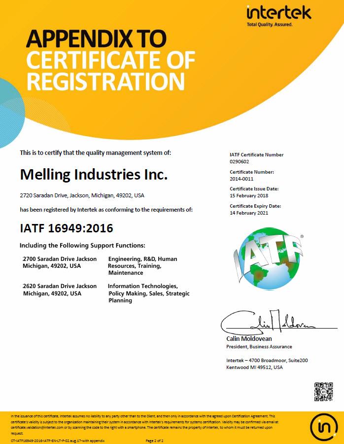 Melling Industries IATF Appendix