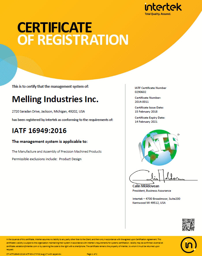 Melling Industries IATF