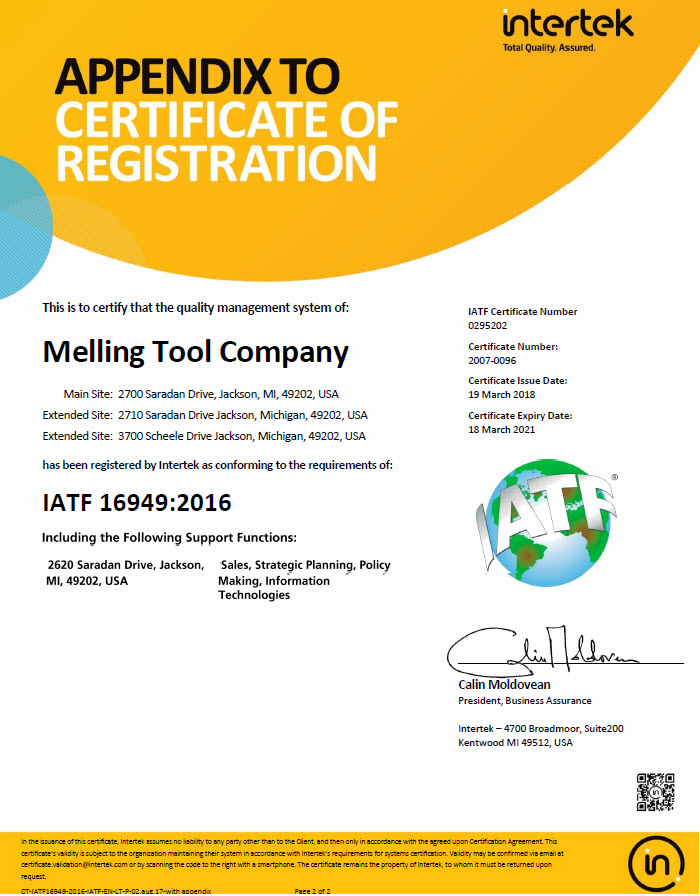 Melling Quality Certificate Appendix
