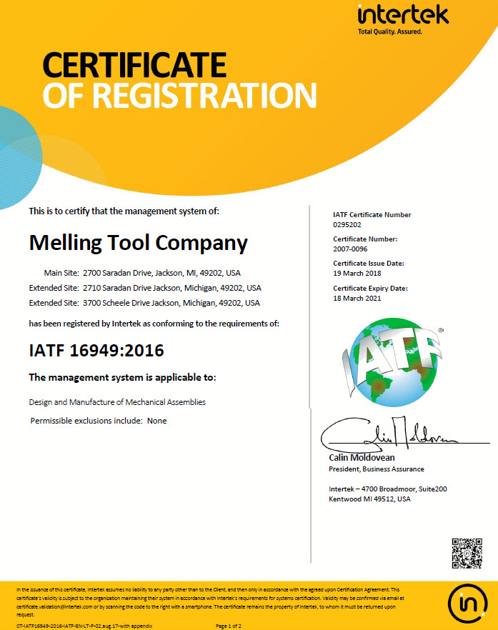 Melling Quality Certificate